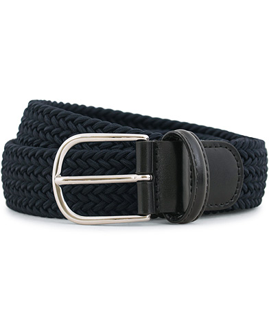 Anderson's Stretch Woven 3,5 cm Belt Navy