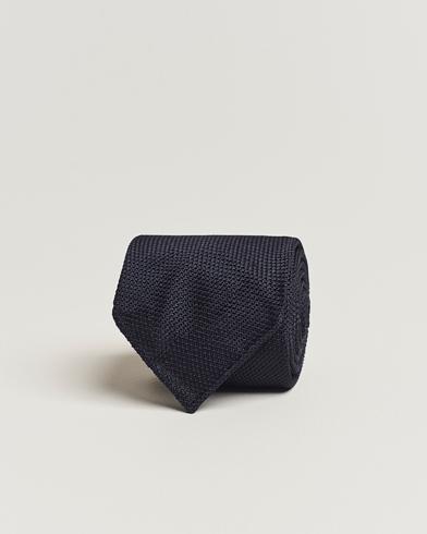Drake's Silk Fine Grenadine Handrolled 8 cm Tie Navy