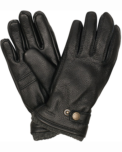 Hestra Utsjö Fleece Liner Buckle Elkskin Glove Black