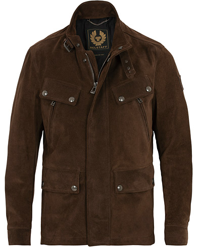 Belstaff Denesmere Suede Field Jacket Chocolate Brown
