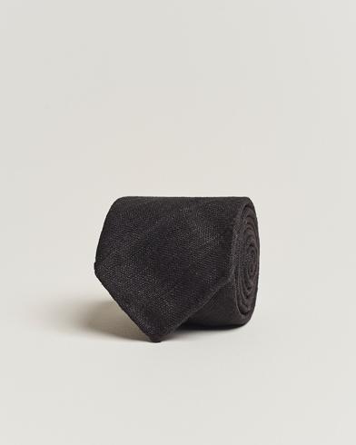 Drake's Tussah Silk Handrolled 8 cm Tie Black