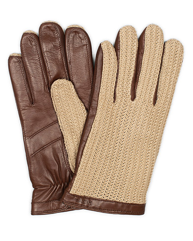 Hestra Adam Crochet Wool Lined Glove Chestnut/Beige