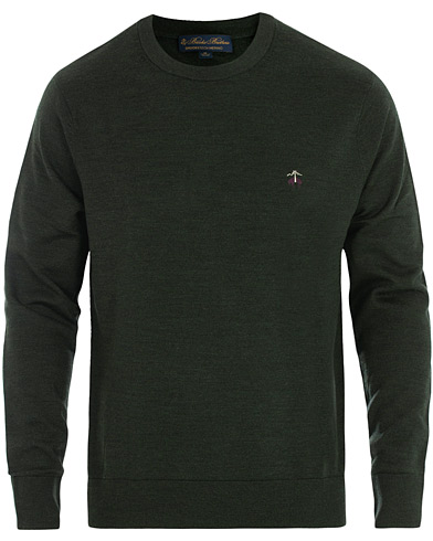 Brooks Brothers Merino Wool Crew Neck Pullover Forest Green in der Gruppe Kleidung / Pullover / Rundausschnitt bei Care of Carl (16290811r)