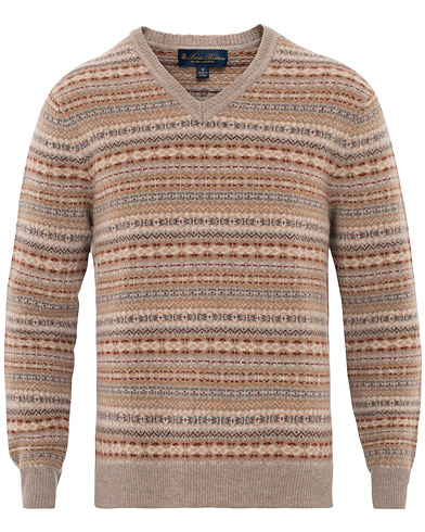 Brooks Brothers Fairisle V Neck Lambswool Sweater Brown in der Gruppe Kleidung / Pullover / Strickpullover bei Care of Carl (16293211r)