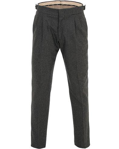 Lardini Two Pleat Zip Side Buckle Flanell Trousers Grey