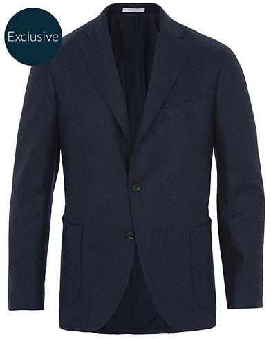 Boglioli K Jacket Patch Pocket Flannel Blazer Navy