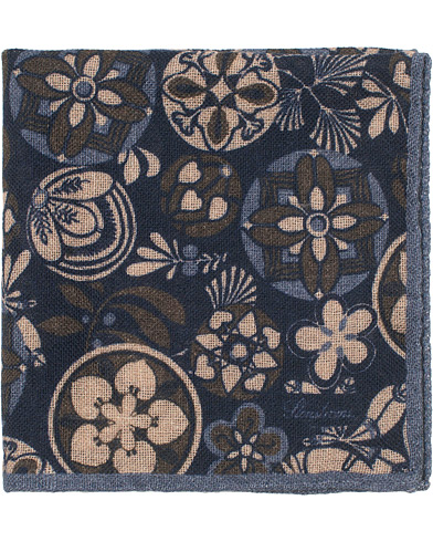 Stenströms Wool/Silk Printed Pocket Square Blue