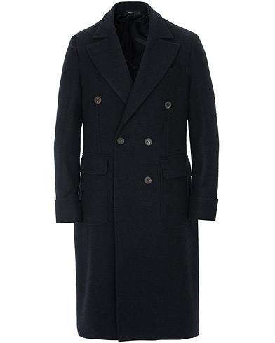 Berg&Berg Nicholas Double Breasted Wool Polo Coat Navy