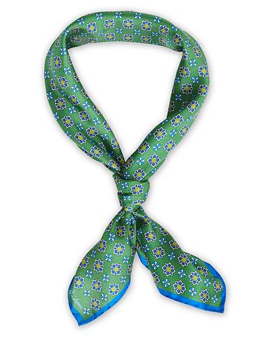 Stenströms Printed Silk Bandana Green
