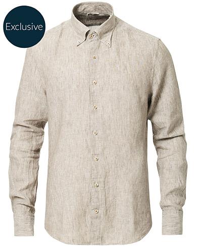 Stenströms Slimline Button Down Linen Shirt Beige