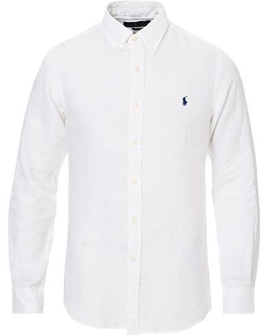 Polo Ralph Lauren Slim Fit Linen Button Down Shirt White