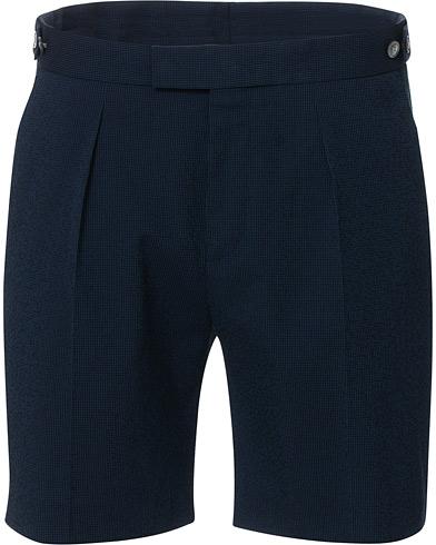 BOSS Pepe Pleated Seersucker Suit Shorts Open Blue