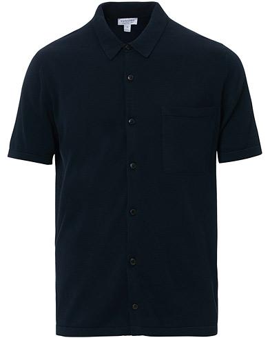 Sunspel Short Sleeve Sea Island Shirt Light Navy