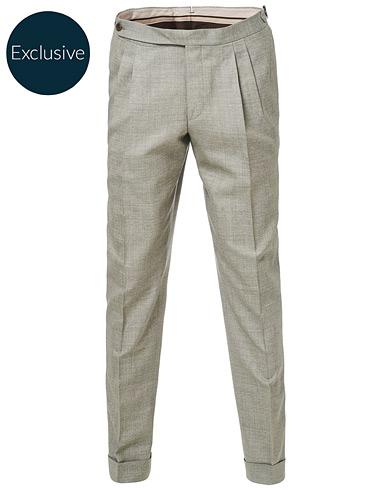 Morris Heritage Carl Double Pleated Wool Trousers Beige