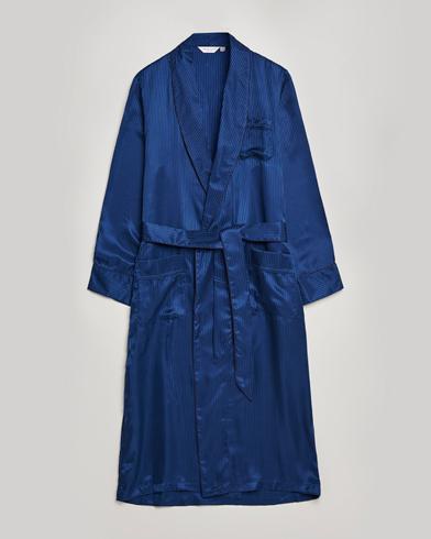 Derek Rose Pure Silk Striped Dressing Gown Navy