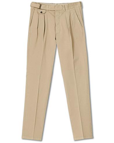 Lardini Luxor Double Pleated Cotton Trousers Beige