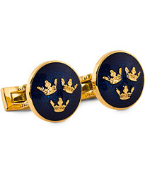 Skultuna Cuff Links Tre Kronor Gold/Royal Blue