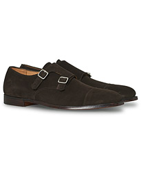 Crockett & Jones Lowndes Monkstrap Dark Brown Suede
