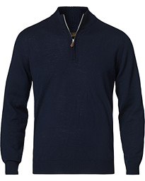 Merino Wool Half Zip Navy