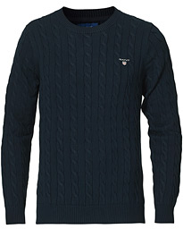 Cotton Cable Crew Neck Pullover Evening Blue