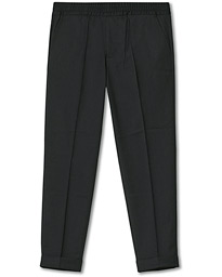 Terry Gabardine Cropped Turn Up Trousers Antracite