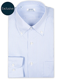 Barba Napoli Slim Fit Oxford Button Down Shirt Blue Striped