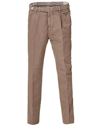 Brunello Cucinelli Slim Fit Cotton/linen Pleated Trousers Brown