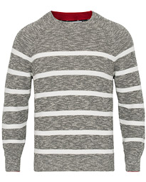 Brunello Cucinelli Melange Striped Cotton Sweater Grey/White