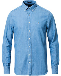 GANT Slim Fit Indigo Shirt Semi Light Blue