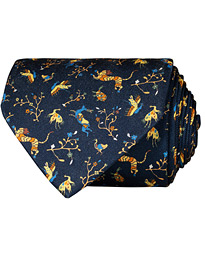Drake's Silk Printed Animals 8 cm Tie Navy