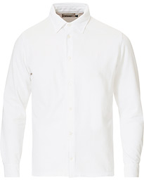 Drake's Long Sleeve Pique Shirt White
