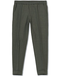 Terry Cropt Turn Up Linen Trousers Green Grey