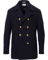Double Breasted Wool Coat Navy