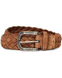 Brunello Cucinelli Braided Belt Brown Suede