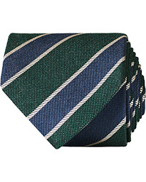 Amanda Christensen Silk Bouclé Striped 8 cm Tie Navy/Green
