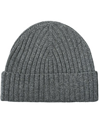 Rib Knitted Cashmere Cap Grey