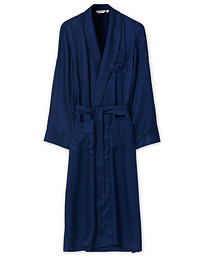 Pure Silk Striped Dressing Gown Navy