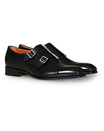 Santoni Blake Double Monk  Black Calf