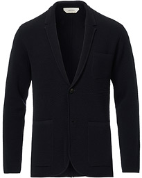 Z Zegna Deconstructed Knitted Blazer Navy Blue