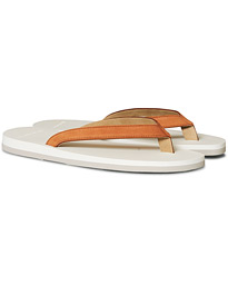 Nubuck Leather Flip-Flop Cuoio/White