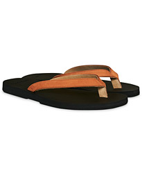 Nubuck Leather Flip-Flop Cuoio/Black