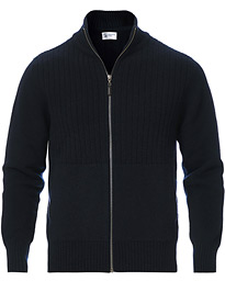 Knitted Wool/Cashmere Cable Full Zip Dark Navy
