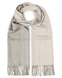 Arran Reversible Cashmere Scarf Flannel/Oyster