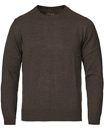 Heavy Knitted Merino Crew Neck Brown