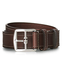 Bridle Stiched 3,5 cm Leather Belt Brown
