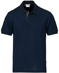 Contrast Placket Polo Piquet Navy