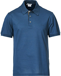 Contrast Placket Polo Piquet Indigo