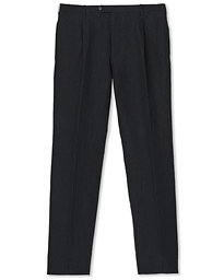 Cotton/Linen Pleated Trousers Black