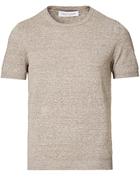 Cotton/Linen Crew Neck Tee Beige