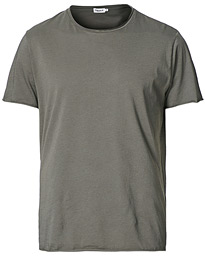 Roll Neck Crew Neck Tee Green Grey